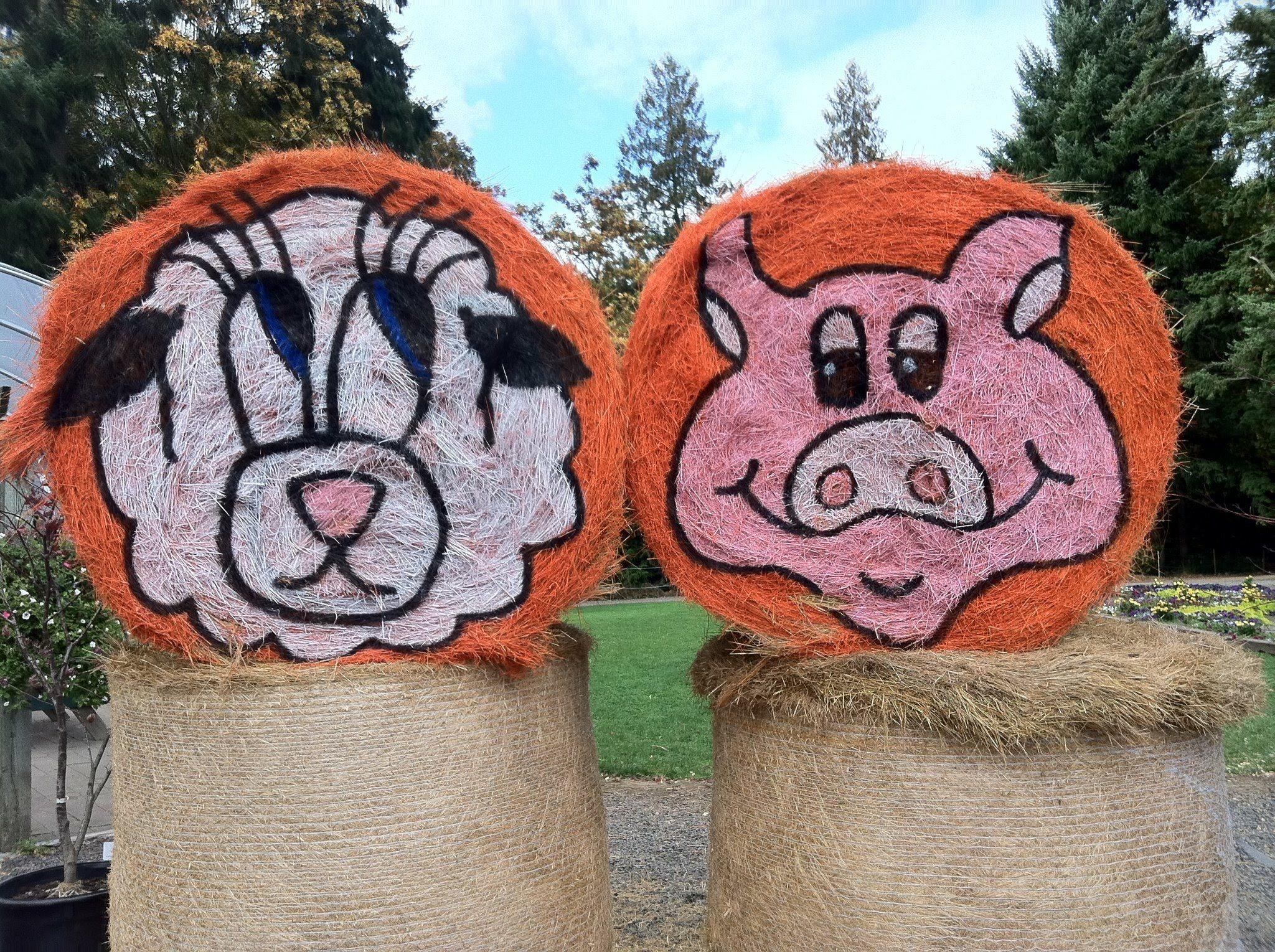 羊と豚の干し草