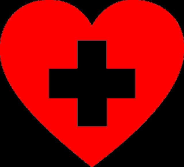 ハートの中に病院の十字の画像です。