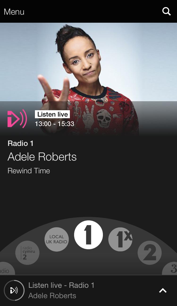 BBCラジオアプリケーションのトップ画面です。