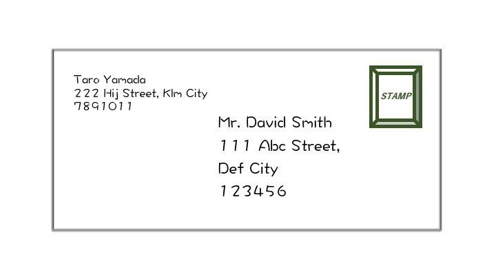 英文レター封筒への宛名の書き方の見本です。