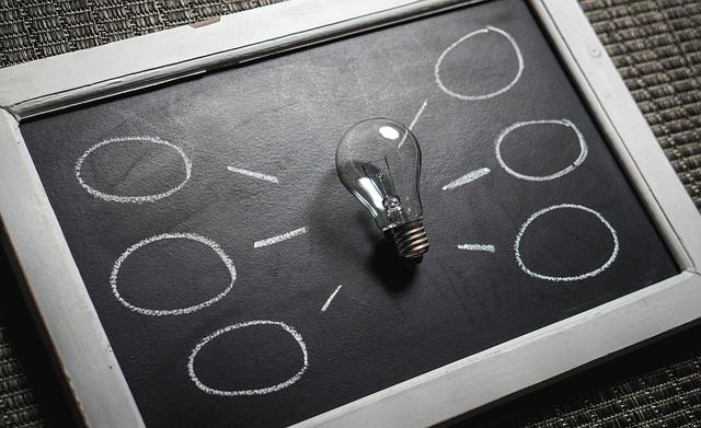 電球と黒板による閃きをイメージした画像です。