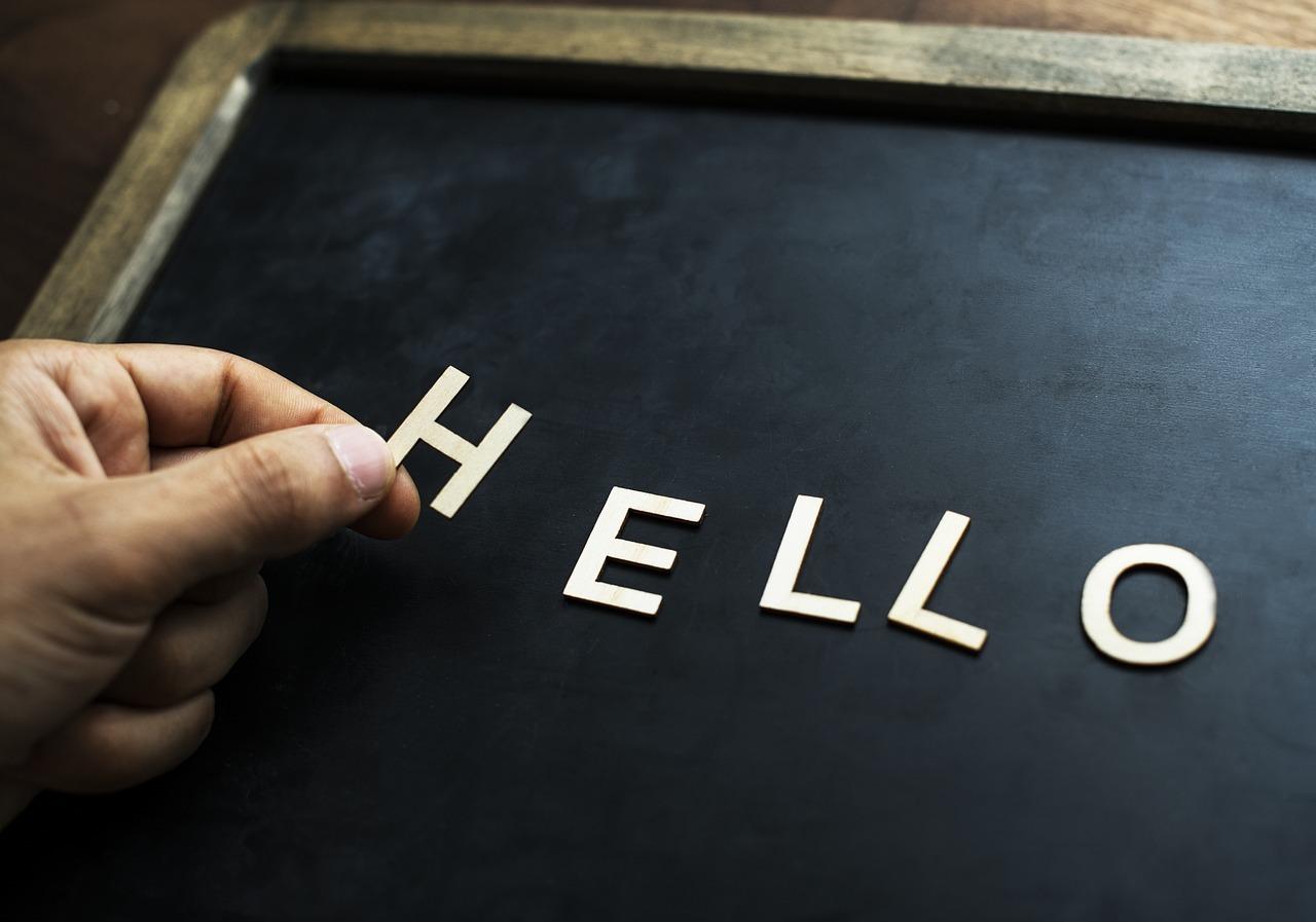 「hello」の文字