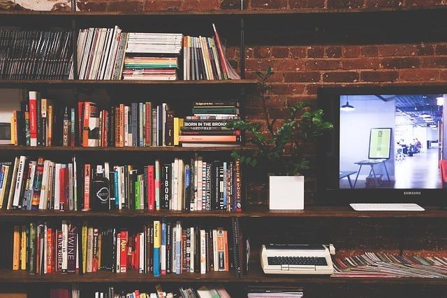 たくさんの本とテレビ
