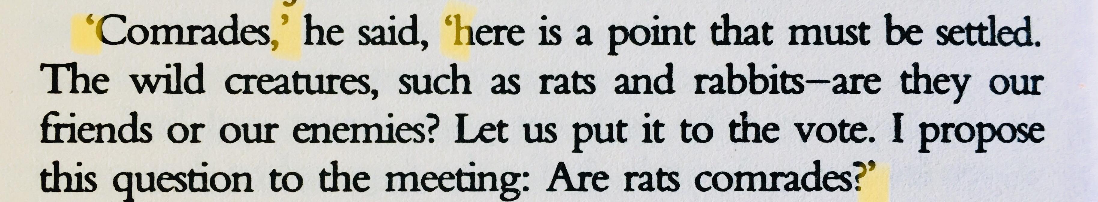 オーウェル『動物農場』よりセリフの部分(筆者撮影)