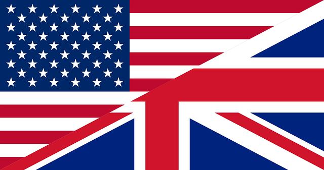 アメリカとイギリスの国旗が半分ずつになっている画像です。
