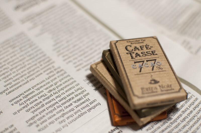 英文が書かれた紙の上にチョコレートがあります。