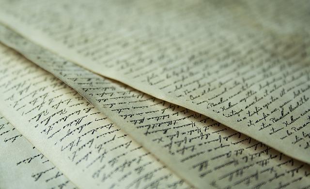紙に書かれた英文