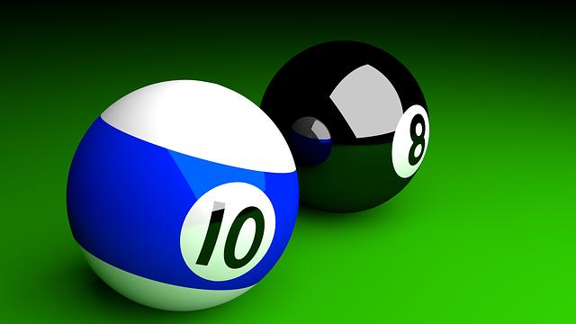 10と8のビリヤードボール