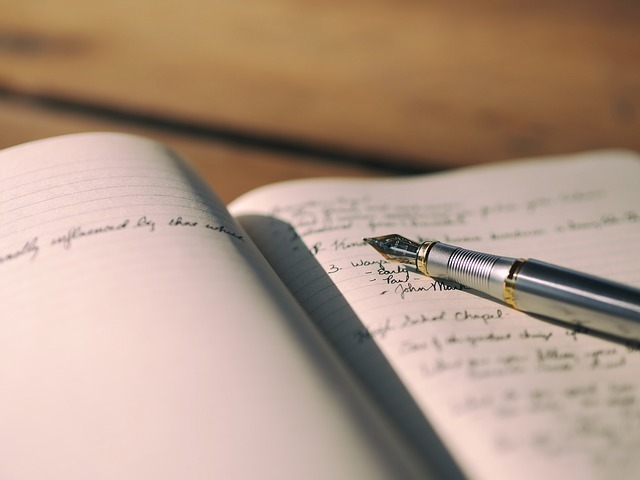 英語の日記の写真