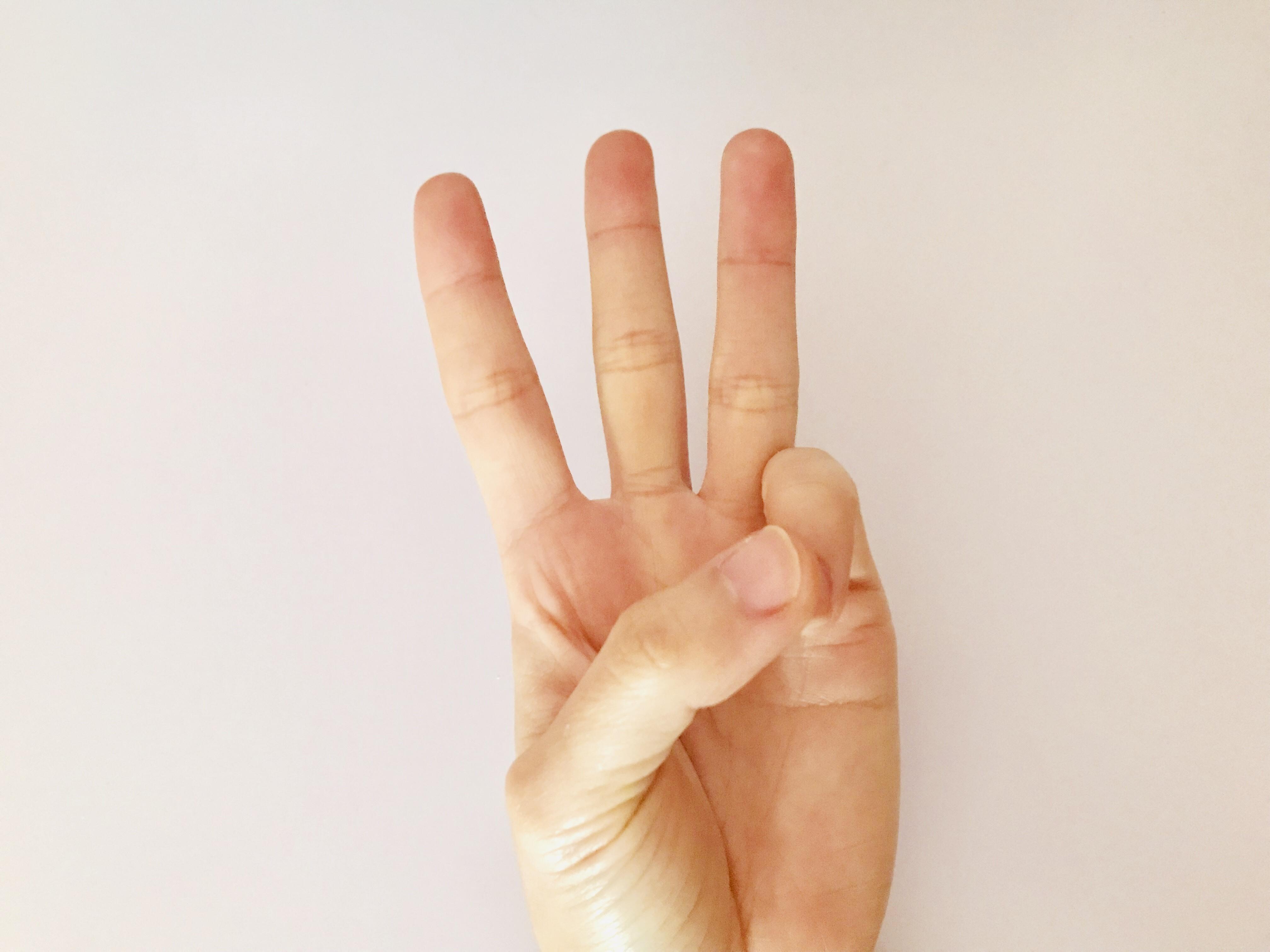 3を表す手の写真