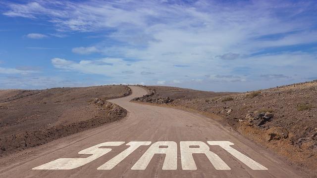 startと書いてある道