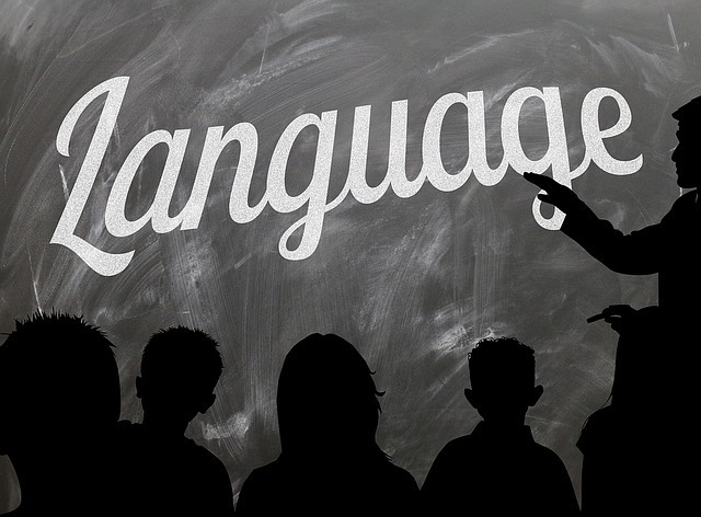 Languageと書かれた黒板とシャドーで表現されたひとりの先生と5人の生徒たち