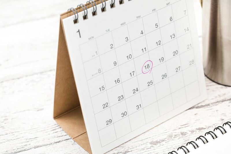 18日に赤丸がついた1月のカレンダーの写真