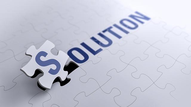 solutionと書かれたパズル