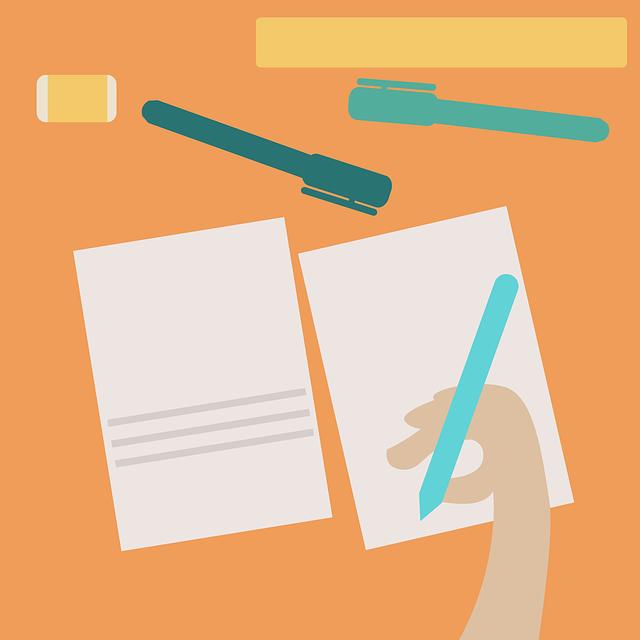 紙とペンと人間の手と消しゴムのイラスト
