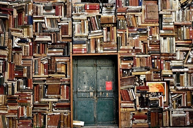 本が敷き詰めらた扉