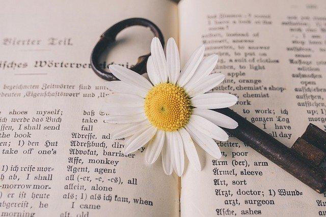 英語の本、花、鍵