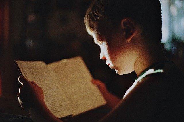 本を読む子供の写真