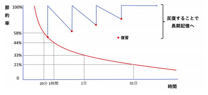 忘却曲線のグラフ